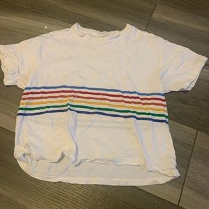 brandy melville white t shirt with rainbow stripes